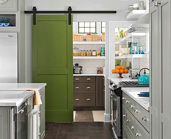 MUST-KNOW: Why A Cool Pantry Door Is The Secret Ingredient To A Cool Kitchen Design > http://carlaaston.com/designed/why-a-cool-pantry-door-is-the-secret-ingredient-to-a-cool-kitchen-design — One thing I can't wait to do in my kitchen remodel — yes, MY remodel — is… | Image source: bhg.com