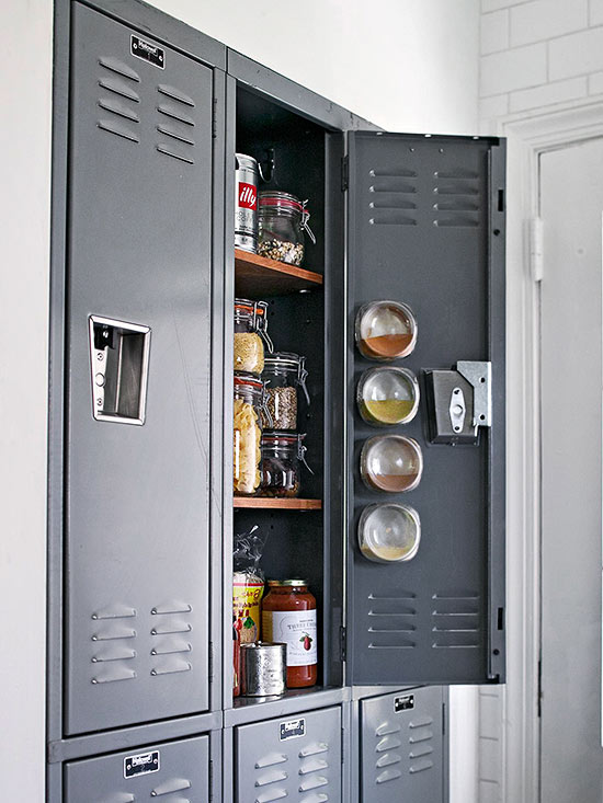 MUST-KNOW: Kitchen Pantry Design Ideas > http://www.bhg.com/kitchen/storage/pantry/kitchen-pantry-ideas/#page=22 — Now this is a creative use of old lockers! I bet you can find these at salvage companies. Cheap cabinetry and an industrial vibe. But... Does it bring back bad memories? | Image source: bhg.com