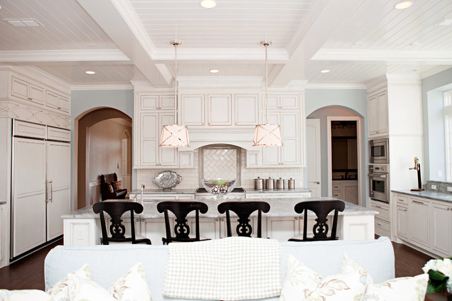 Kitchen ceiling treatment; couch; island; cabinetry; lighting | Designer: B&S Woodworking Inc.
