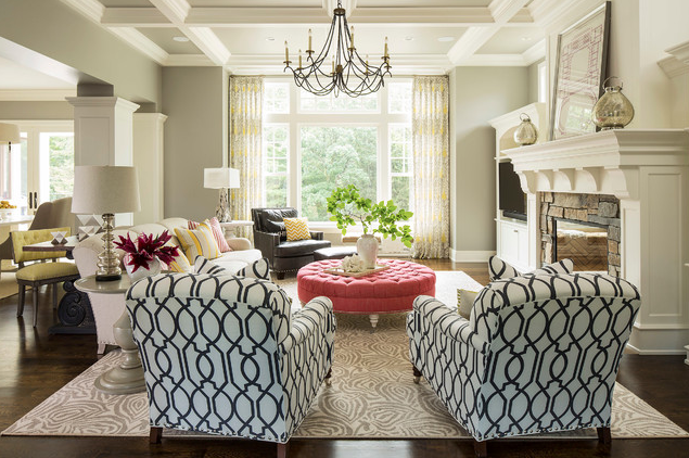 Living room ceiling treatment; chair; couch; lamp; fireplace; rug | Designer: Martha O'Hara Interiors