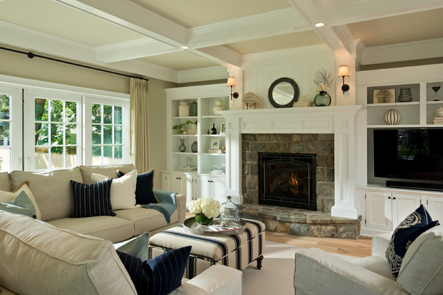 Living room ceiling treatment; couch; chair; fireplace | Designer: Witt Construction