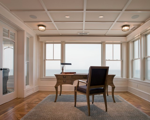 Office ceiling treatment; desk; chair; rug; window | Designer: Bruce Palmer