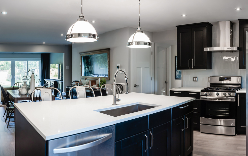 Kitchen remodel; island; stove; oven; sink; cabinetry; dining room | Interior Designer: Matt Tsang
