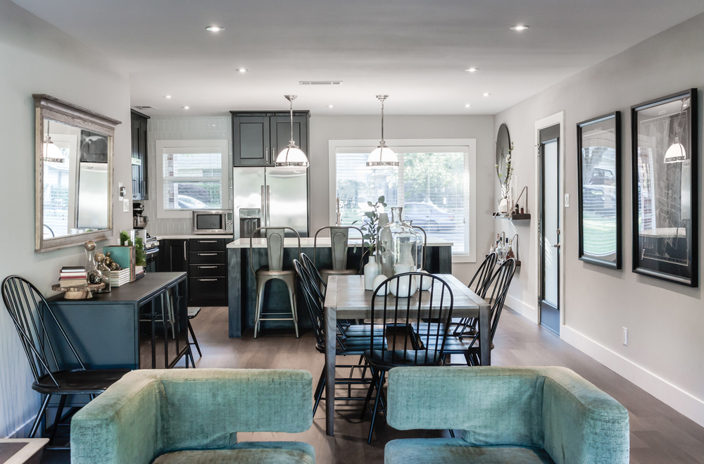 Home remodel; open plan design; chair; dining room / area; kitchen; wall art; table; lighting | Interior Designer: Matt Tsang