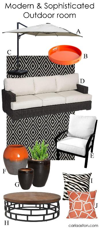 Stylish, modern backyard decor & furniture | Featuring: pillow; coffee table; planter; ceramic jar; chair + ottoman; walnut sofa; rug; tray; umbrella.
