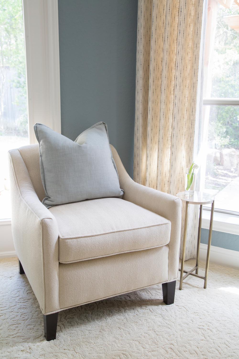 Master Bedroom Redo - Seating, side table, drapery, Designer: Carla Aston