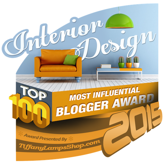 MUST-FOLLOW: Top 100 Most Influential Interior Design Websites of 2015 > http://www.tiffanylampsshop.com/blog/top-100-most-influential-interior-design-websites-of-2015/ — And just in case you think you're checking out some random design blog, well, I have some news for you! I'm number 34 on this list of Top 100 created by using real stats….not just someone's random opinion. :-) Pretty proud moment.