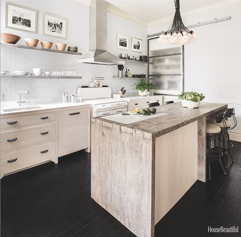 "MUST-SEE: An 1896 Victorian Kitchen Gets a Modern Update > http://www.housebeautiful.com/room-decorating/kitchens/a3803/victorian-kitchen/ — And HB is now doing these ""get the look"" type articles, so that could be considered a DIY, right??? I love this kitchen. It's my style exactly, complete with a few well thought out surprises like that glass barn door hiding some appliances. Very cool.  