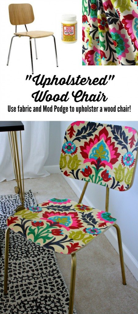 "MUST-KNOW: How to ""Upholster"" a Chair with Fabric and Mod Podge! > http://www.designertrapped.com/2014/12/mod-podge-chair.html — Here's how to make an inexpensive stackable chair into something fun and happy for your room. Would be perfect at a desk or as an accent somewhere."