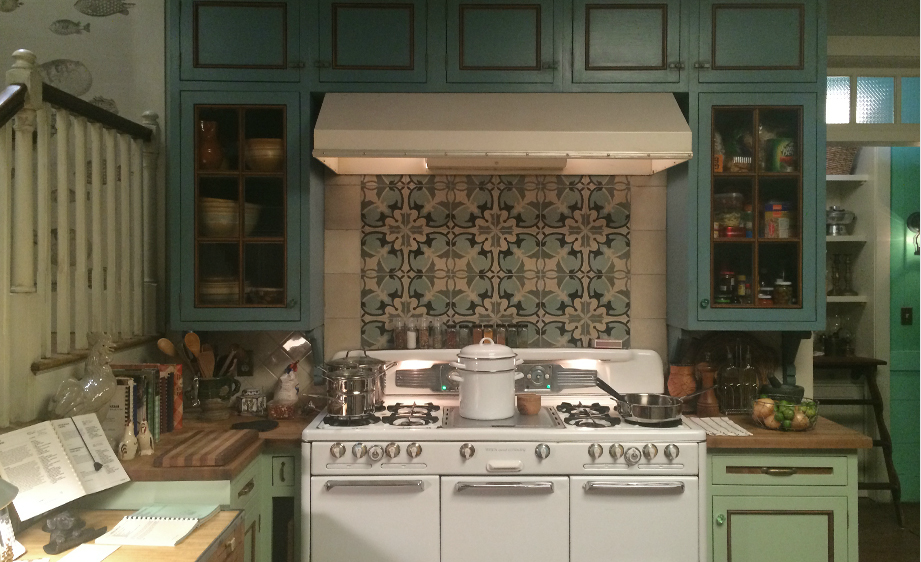 """Bloodline"" house; kitchen; stove; appliance; cabinetry; tile 