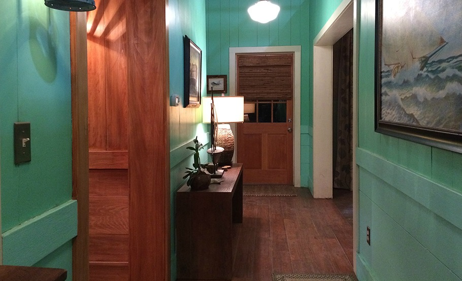 """Bloodline"" house; hallway; wood flooring 