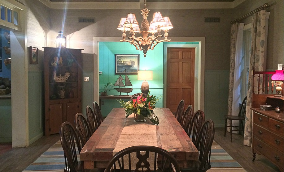 """Bloodline"" house; dining room / table; lighting 
