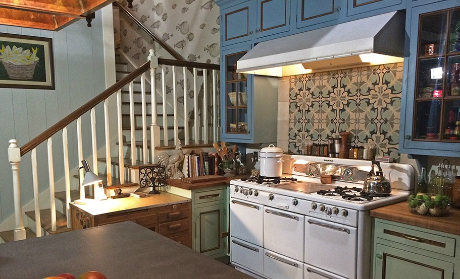 """Bloodline"" house; kitchen; appliance; stove; cabinetry; island 