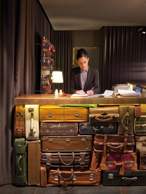 "Hotel design trend: luggage used as decor | ""Chic & Basic Ramblas Hotel / Image source: Design Milk"