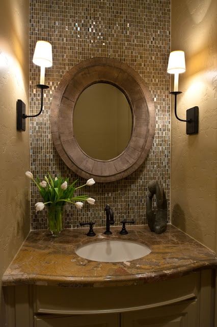 Elegant Bathroom sconce sink mirror backsplash lighting decor design Interior