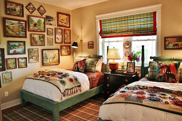 Vintage paint by numbers art; bedroom bed | Image source: Hometalk