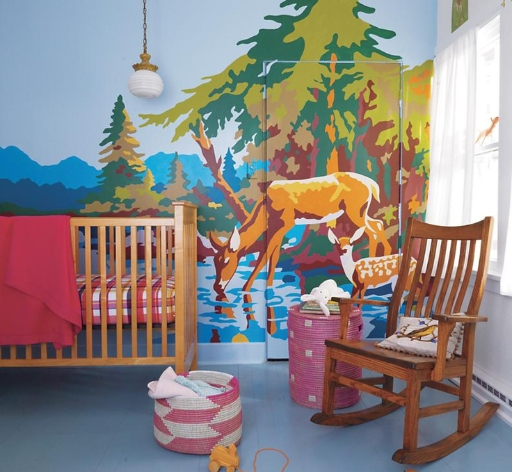 Vintage paint by numbers art; nursery; crib | Interior Designer: Teresea Surratt /  Image source: Land of Nod