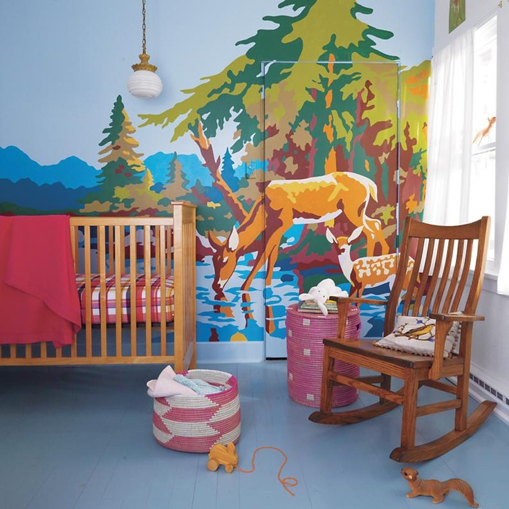 Check Out This Wall Mural Done In A Paint By Numbers Style: