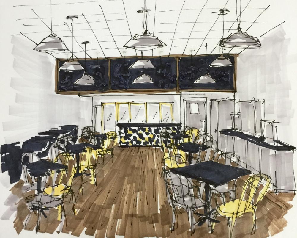 Sketch of interior designer Carla Aston's vision for her remodel of aHoney Bee Ham store.