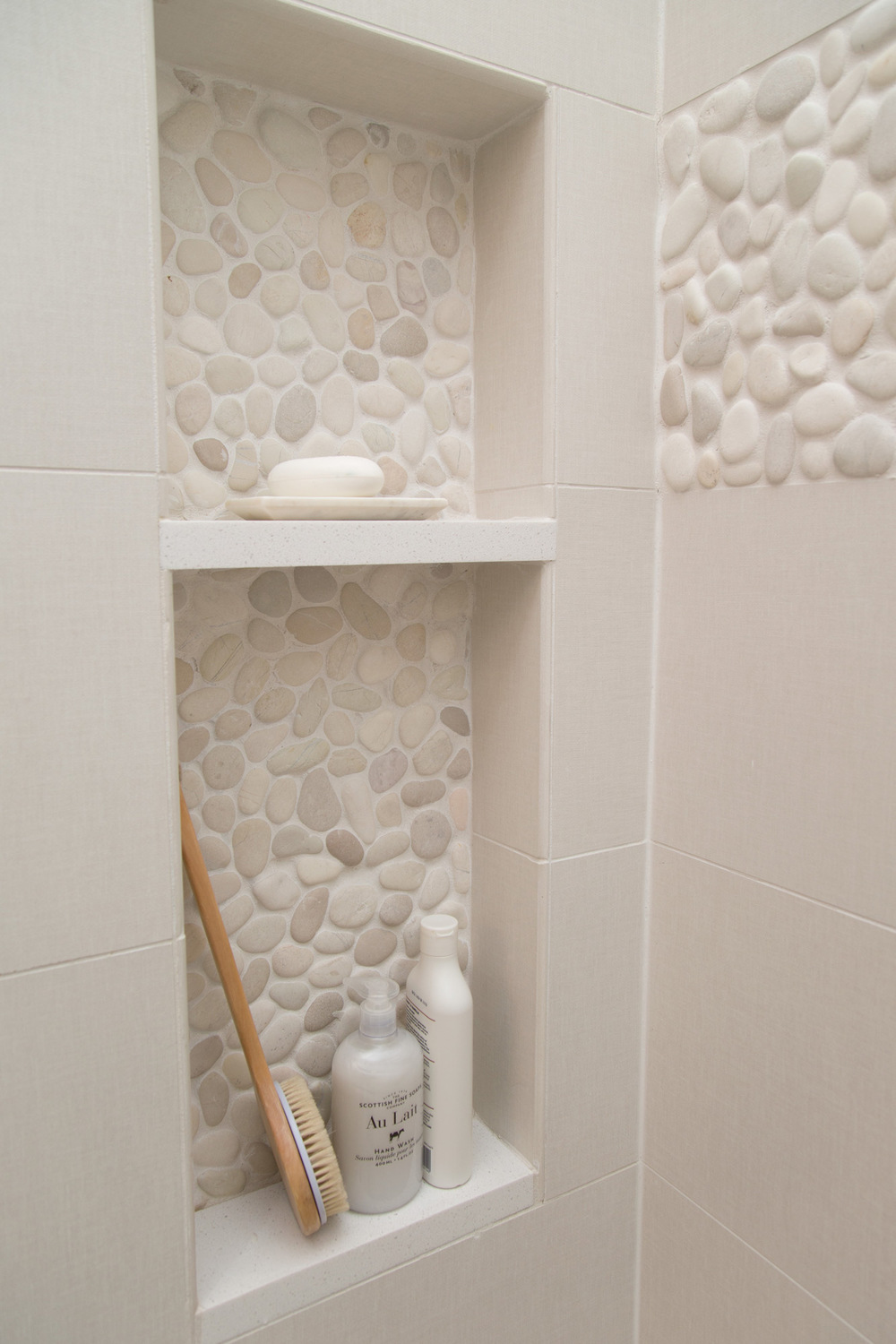 Cute Master bathroom remodel shower shampoo niche Interior Designer Carla Aston Photographer