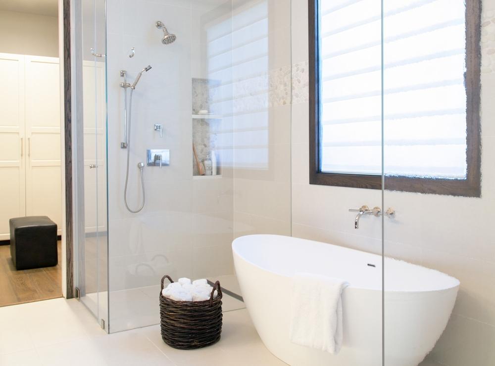 Master bathroom remodel; bathtub; shower   Interior Designer: Carla Aston / Photographer: Tori Aston