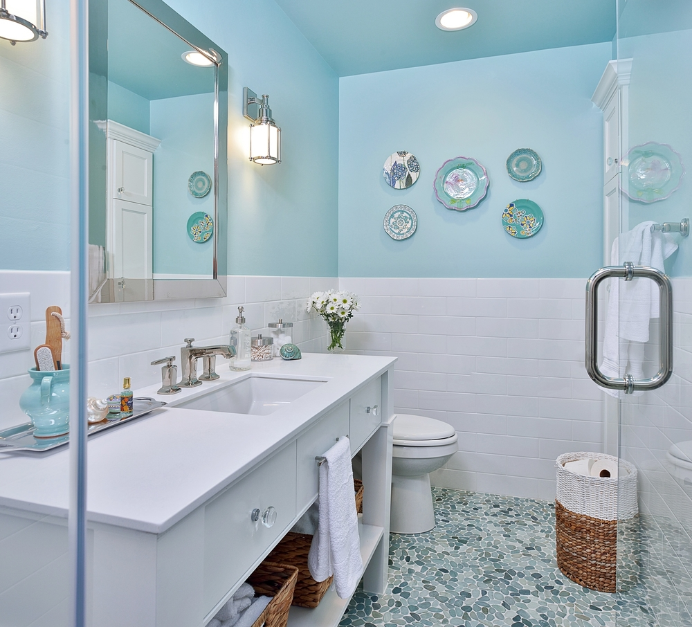 Bathroom; mosaic tile; toilet; sink; mirror; shower | Interior Designer: Carla Aston