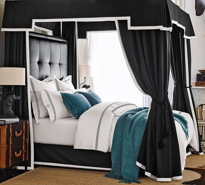 Ken Fulk tailored canopy bed; bedroom | Image source: Pottery Barn