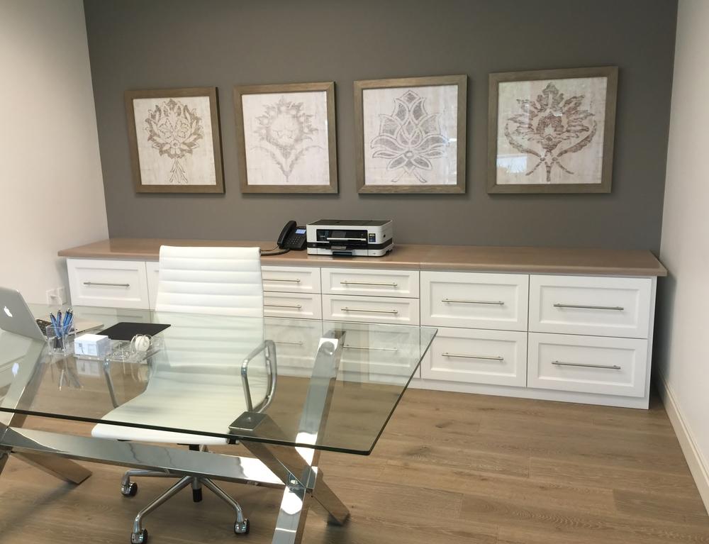 Feminine Office Remodel: Glass Top Desk; Storage; Framed Art; Herman Miller  High