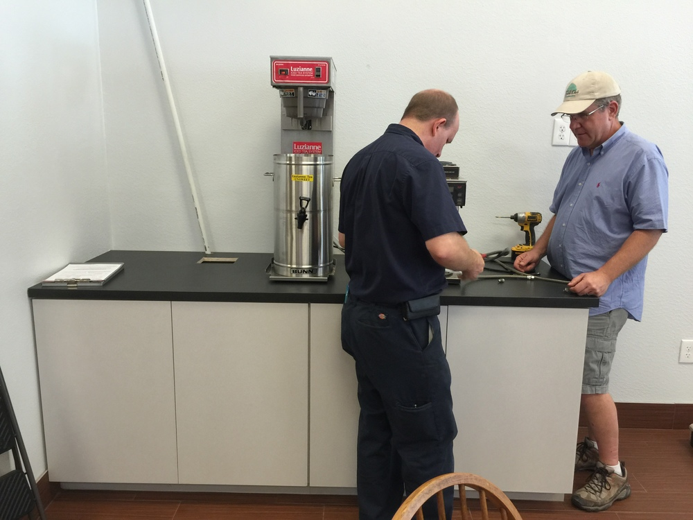 New drinks station. That's the contractor on the right, Dave Rupp.