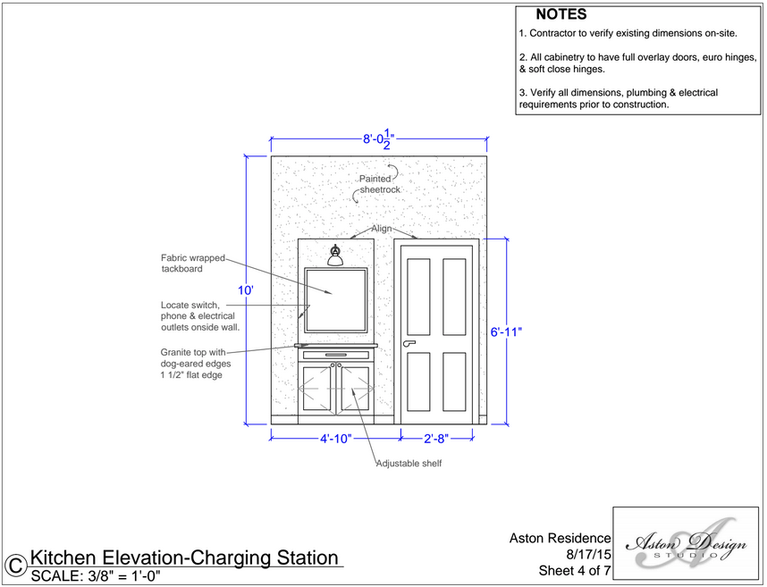 Kitchen elevation - Charging station | Interior Designer: Carla Aston