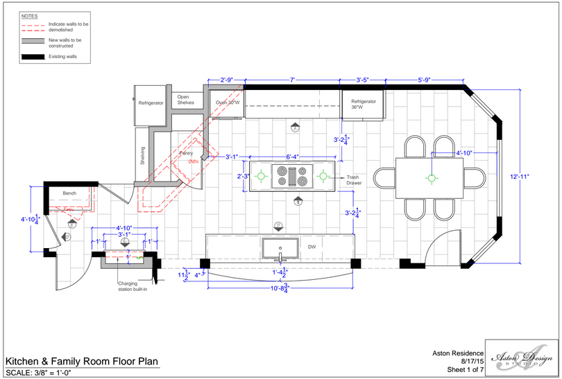 Kitchen & family room floor plan | Interior Designer: Carla Aston