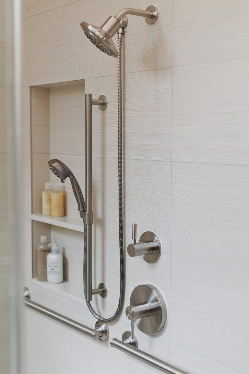 Bathroom remodel featuring: u  niversal design,   accessible bathroom,   curbless shower, linear drain, accessibility, and much more! | Interior Designer: Carla Aston / Photographer: Tori Aston