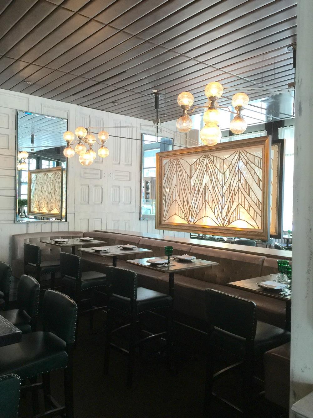 "Bar - art deco glass panel and lighting @ Los Angeles' ""Faith & Flower"" restaurant, designed by Avroko."