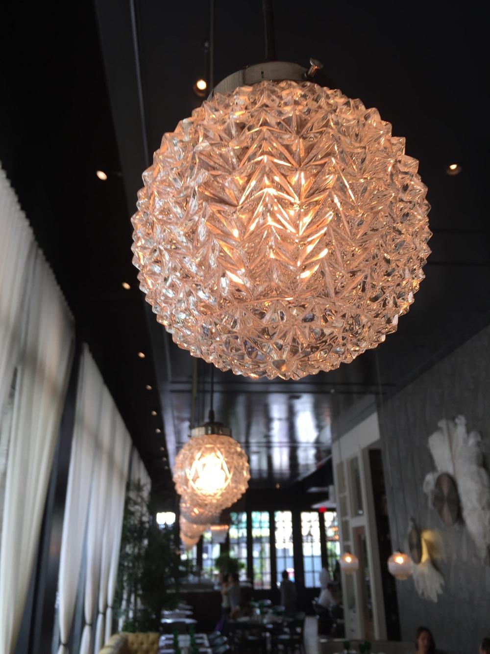 """Pendant lighting @ Los Angeles' """"Faith & Flower"""" restaurant, designed by Avroko."""