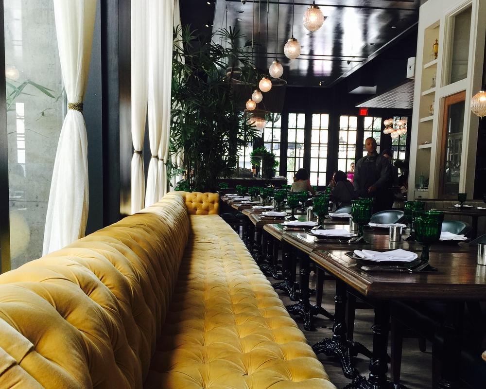 "Banquette @ Los Angeles' ""Faith & Flower"" restaurant, designed by Avroko."