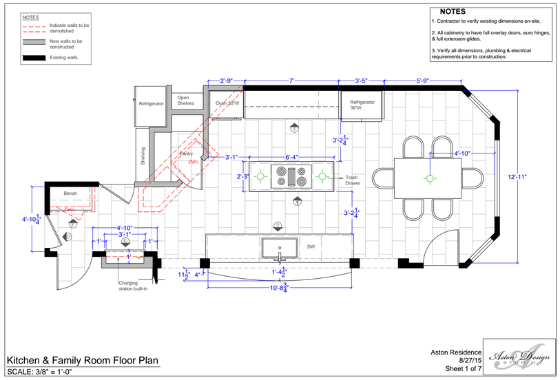 Kitchen and family room floor plan by interior designer Carla Aston.