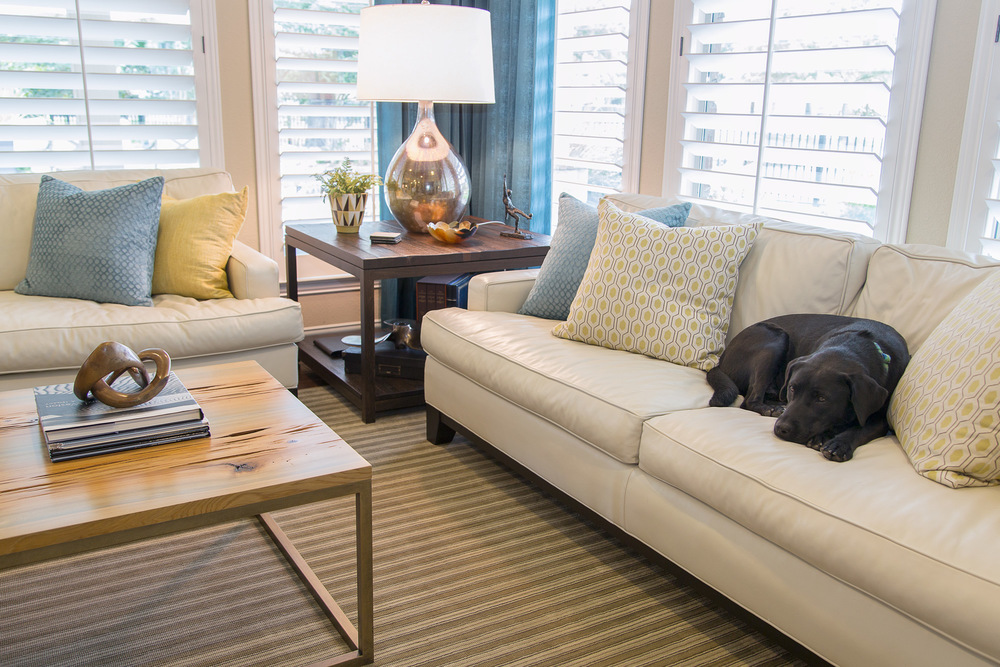 Living room remodel; couch/sofa; coffee table; rug; lamp; chair; decor | Interior Designer: Carla Aston / Photography by Tori Aston