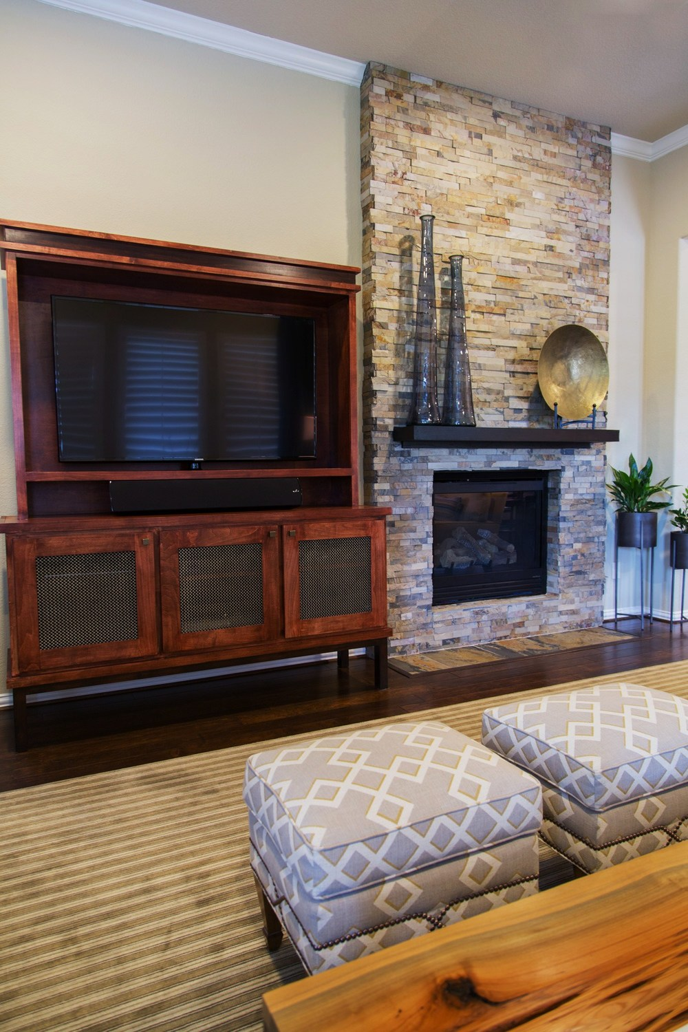 Fireplace room remodel; tv; entertainment center; rug; decor; | Interior Designer: Carla Aston / Photography by Tori Aston