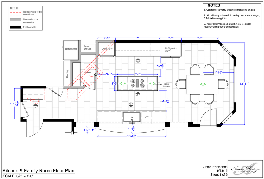 Kitchen and Family Room Floor Plan | Interior Designer: Carla Aston