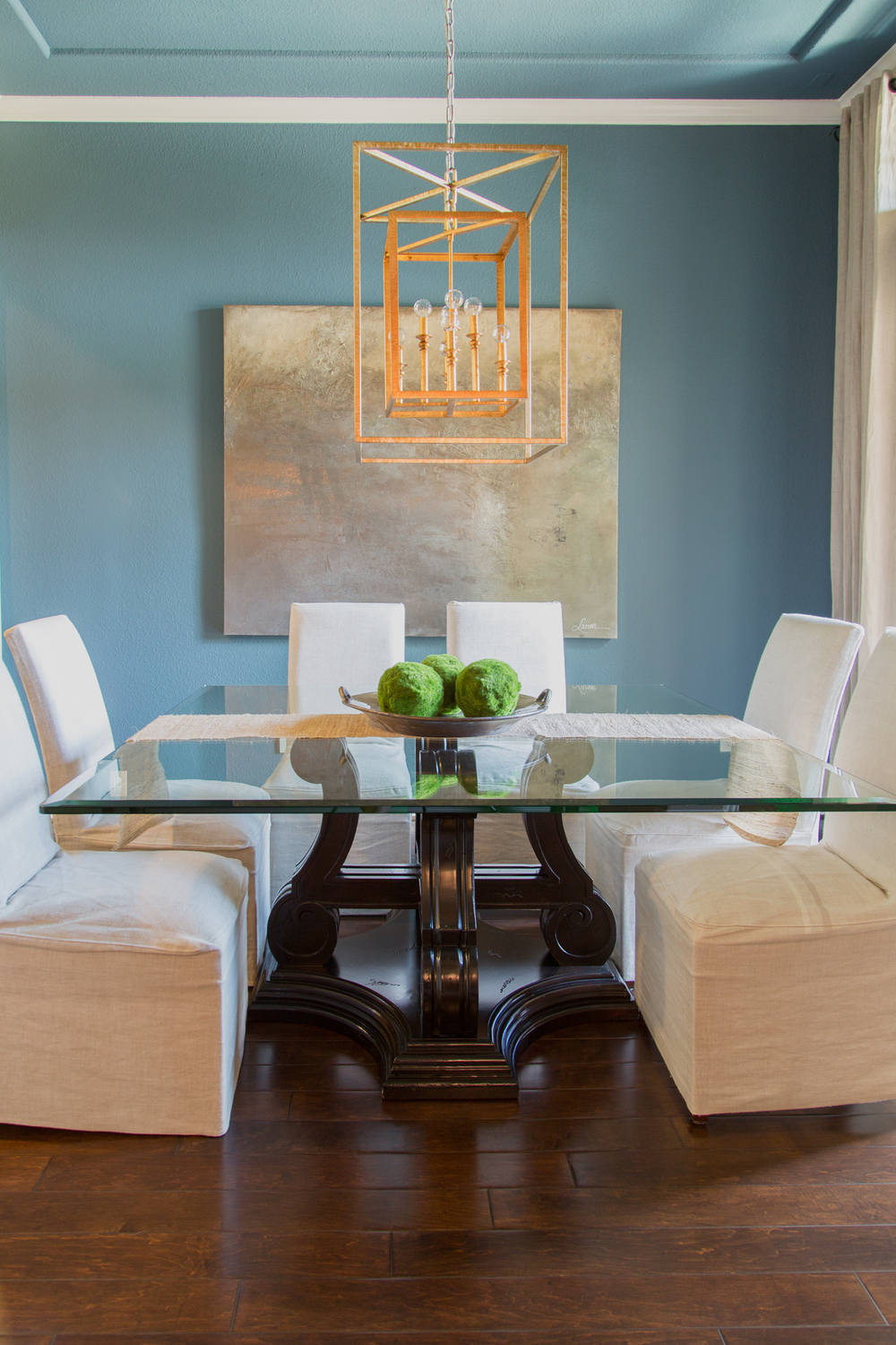 Dining room remodel; table; art; gilded lantern; decor | Interior Designer: Carla Aston / Photographer: Tori Aston