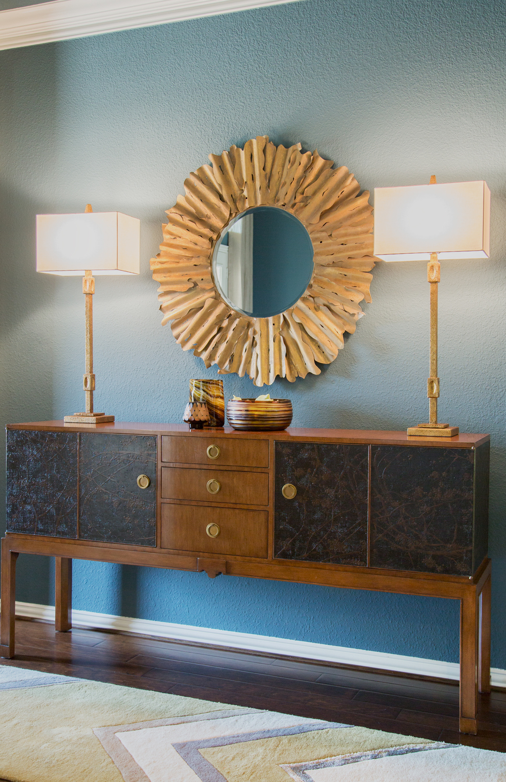 Entry hall remodel; lamp; mirror; rug; decor | Interior Designer: Carla Aston / Photographer: Tori Aston