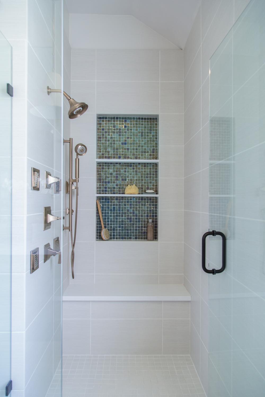 Bathroom remodel; shower; tile; fixture | Interior designer: Carla Aston / Photographer: Tori Aston