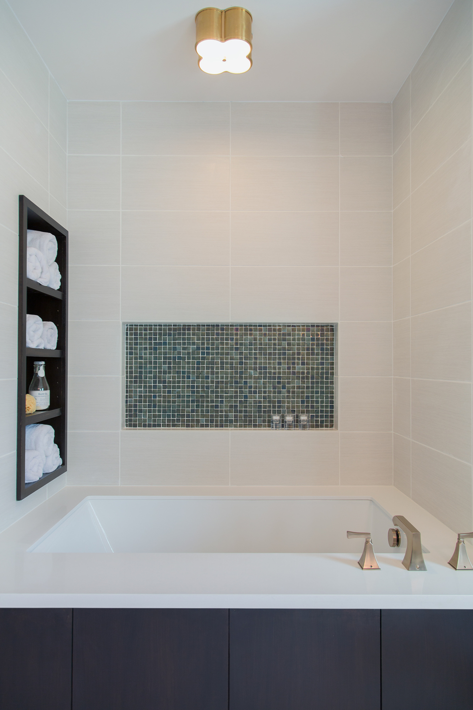 Bathroom remodel; tub; tile; storage | Interior designer: Carla Aston / Photographer: Tori Aston
