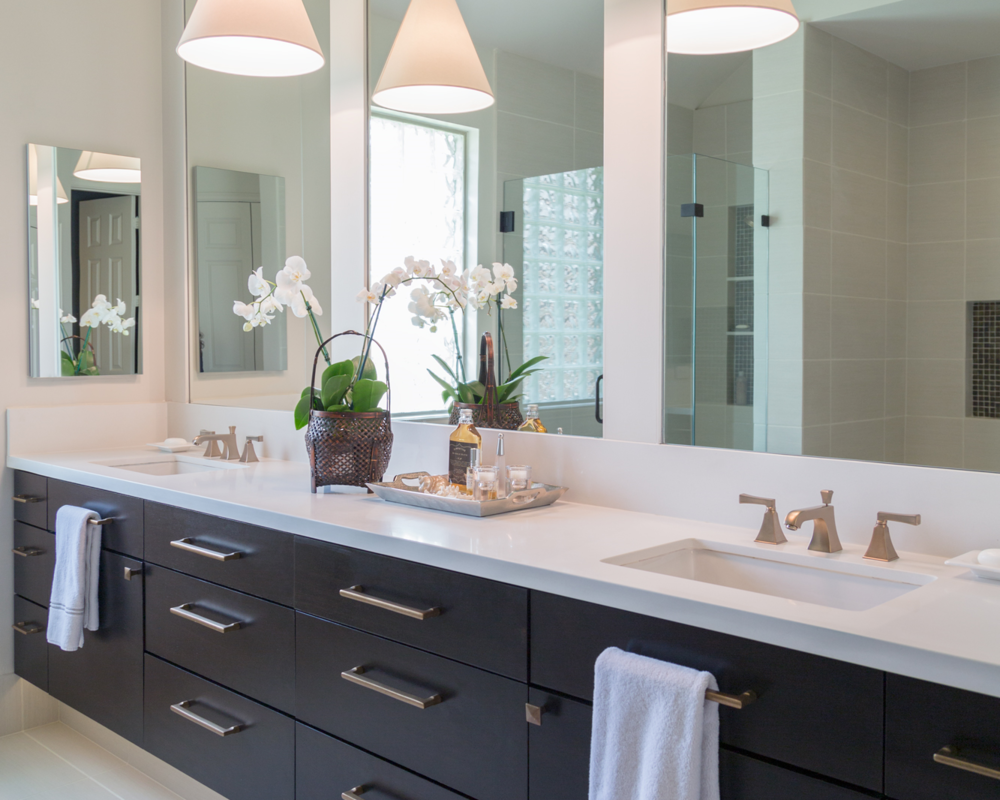 bathroom remodel vanity cabinetry mirror decor lighting sink fixture - Bathroom Cabinets Before And After