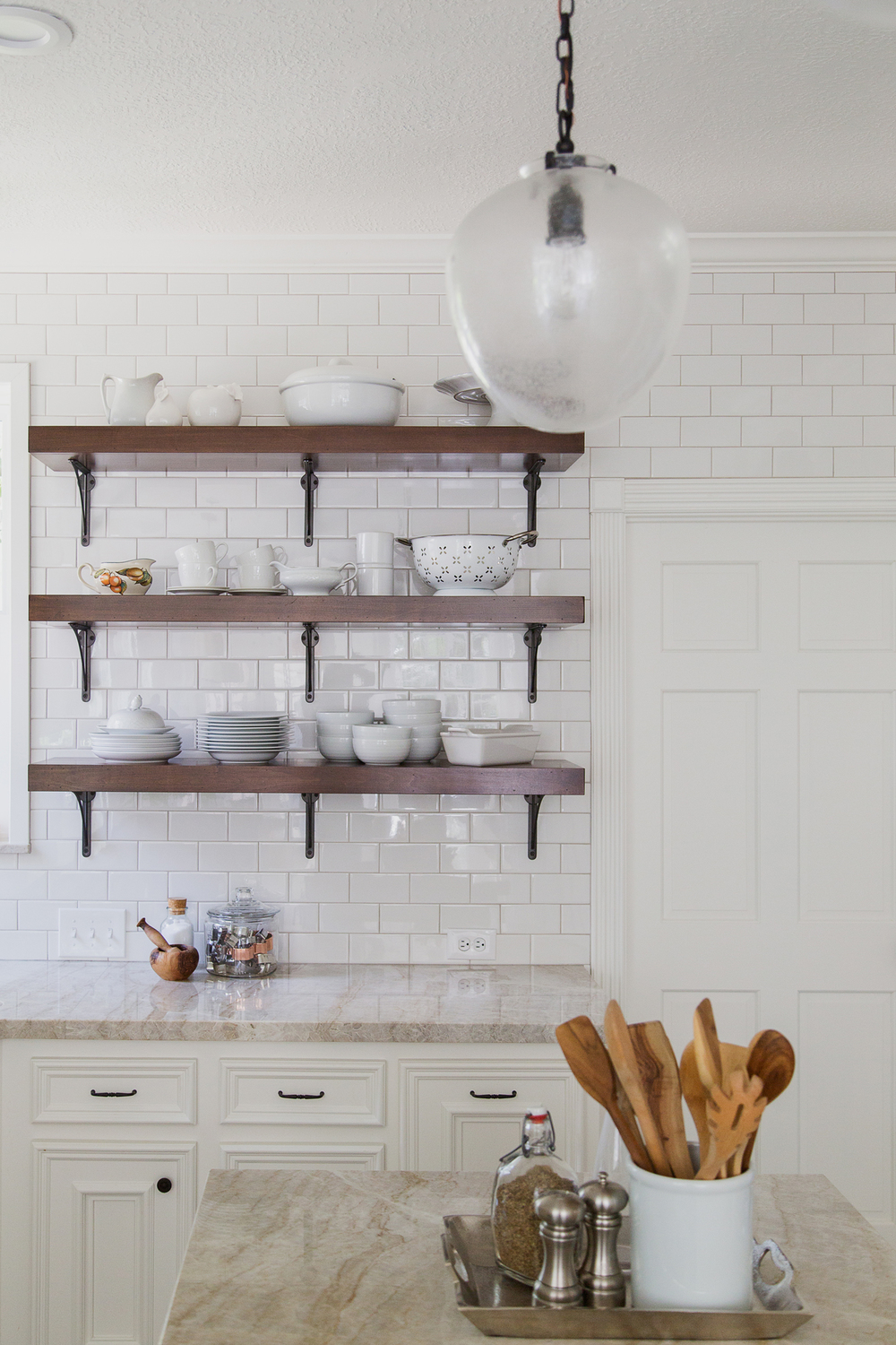 Kitchen Remodel - open shelving, subway tile wall