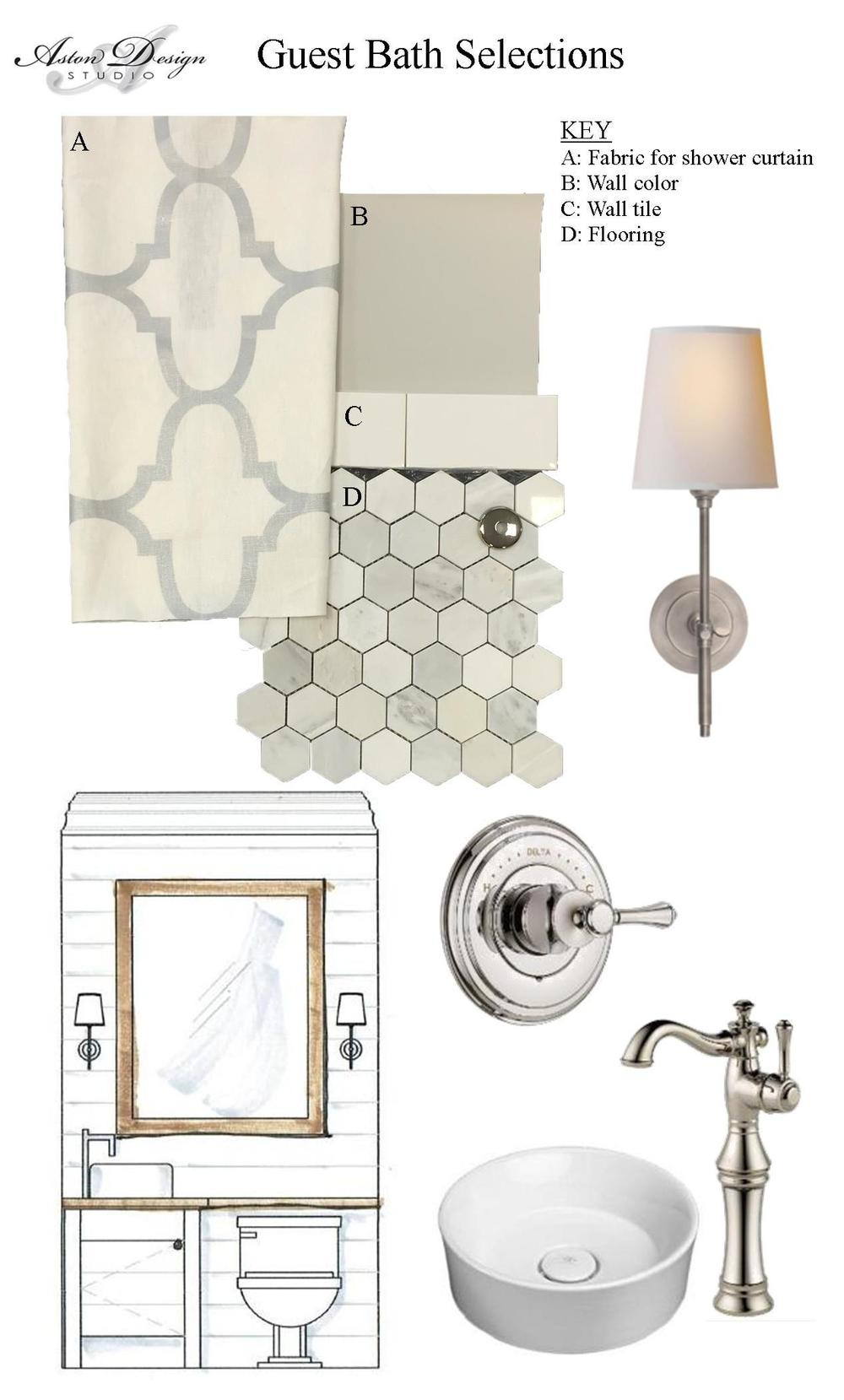 Guest bathroom selections made by interior designer Carla Aston