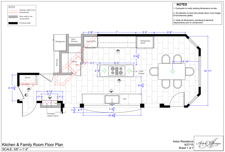 Kitchen Floor Plan | Interior Designer: Carla Aston