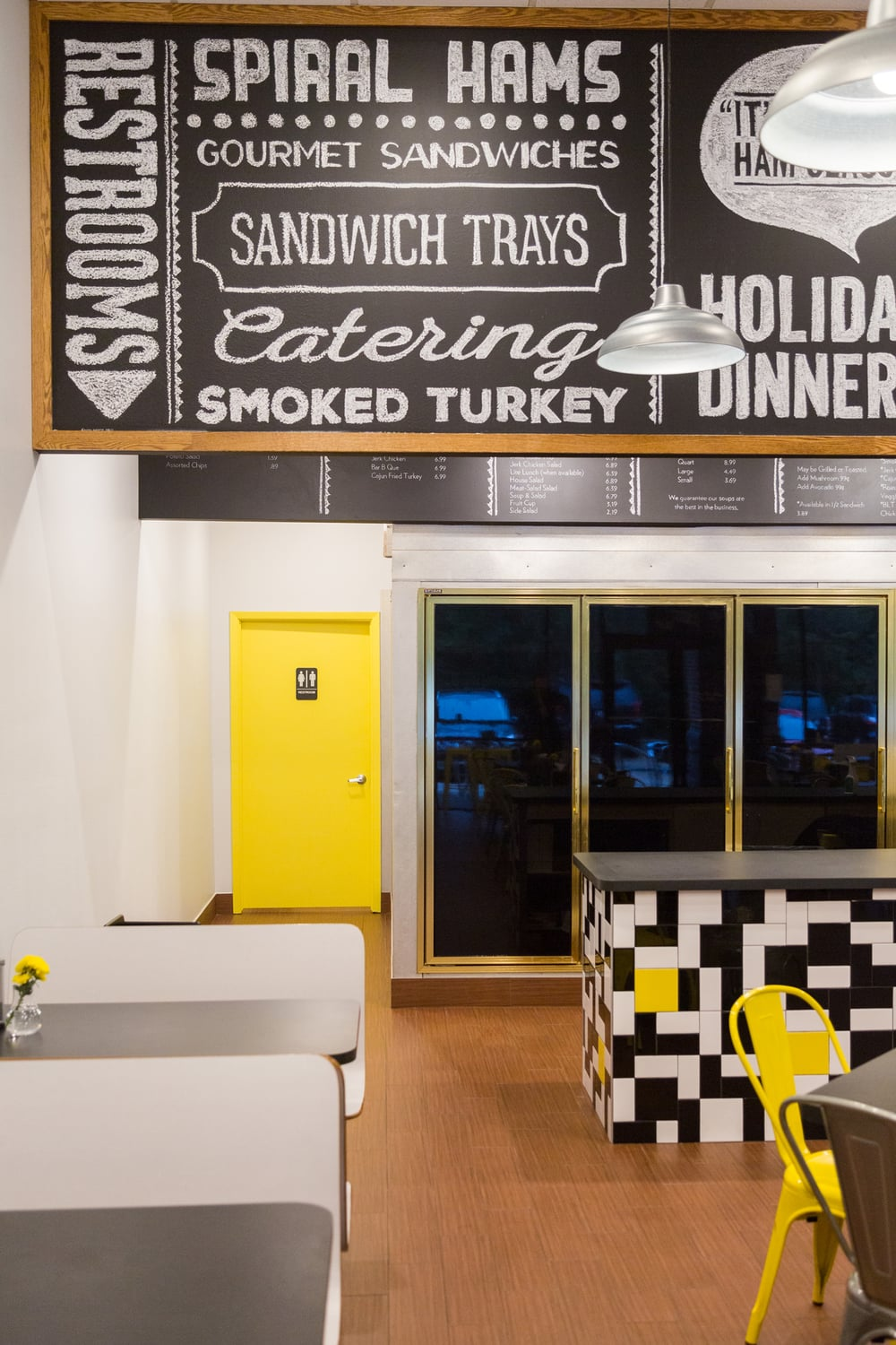Before & After: A Honey Bee Ham restaurant remodel | |Chalkboard sign - cafe counter | Interior Designer: Carla Aston / Photographer: Tori Aston