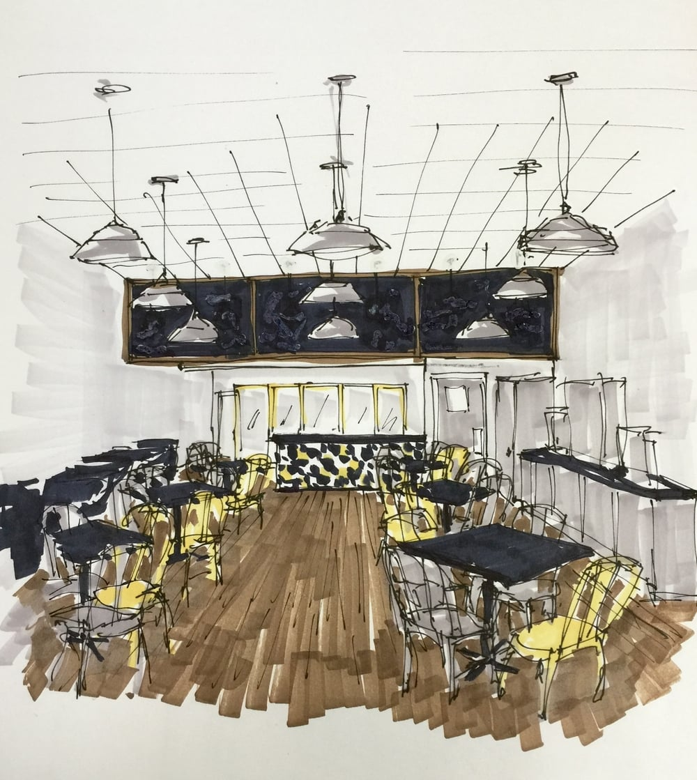 Interior Design Color Sketches Before & After A Honey Bee Ham Restaurant Goes From Tired & Dated