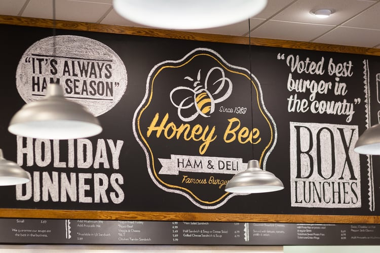 BEFORE & AFTER: A Honey Bee Ham Restaurant Goes From Tired & Dated To Fresh & Delicious! > http://carlaaston.com/designed/before-after-a-honey-bee-ham-restaurant-goes-from-tired-dated-to-fresh-delicious— My Honey Bee Ham project was completed last year, and I'm sharing some final photos here. Take a look at this remarkable transformation. | Interior Designer: Carla Aston